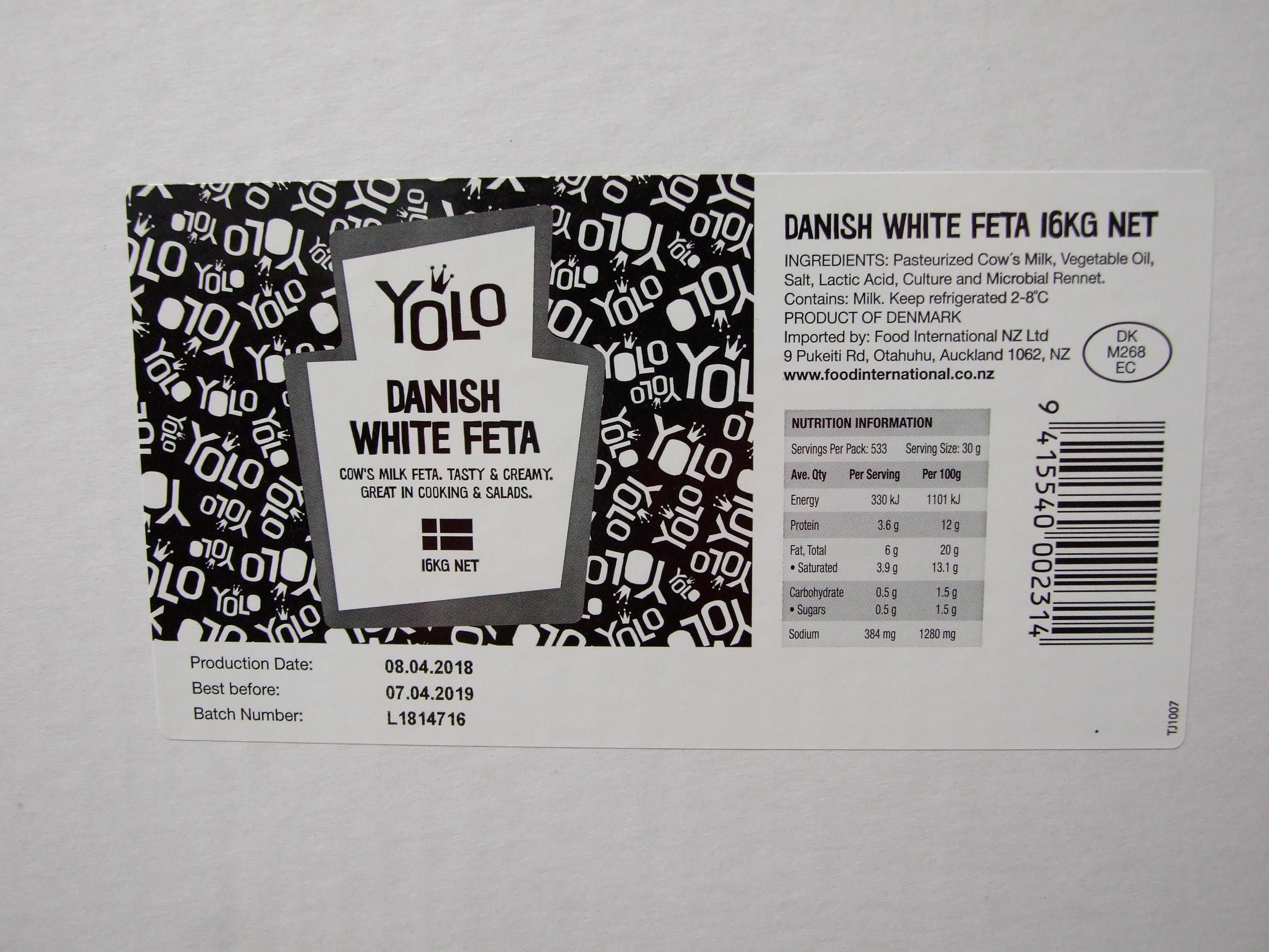 YOLO Danish Feta 16kg – FOOD INTERNATIONAL